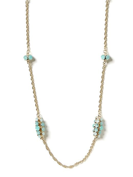 Banana Republic Aqua Long Layer Necklace - Aqua/blue - Banana Republic Canada
