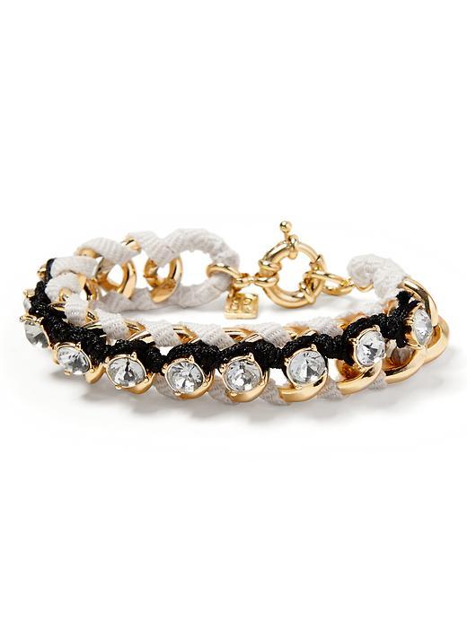 Banana Republic Woven Crystal Bracelet - White/black - Banana Republic Canada