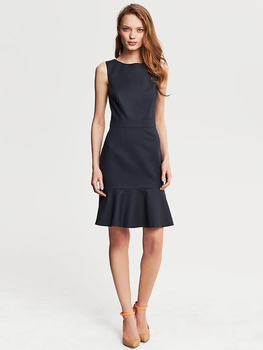 Banana Republic Sleek Suit Flounce Dress - True navy - Banana Republic Canada