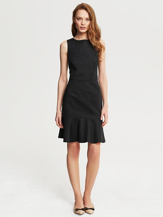 Banana Republic Sleek Suit Flounce Dress - Black - Banana Republic Canada