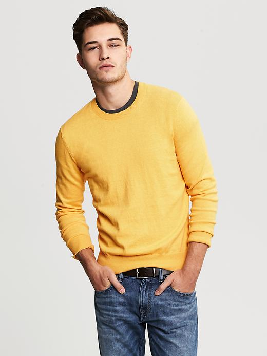 Banana Republic Cotton/Cashmere Crew - Golden heather - Banana Republic Canada