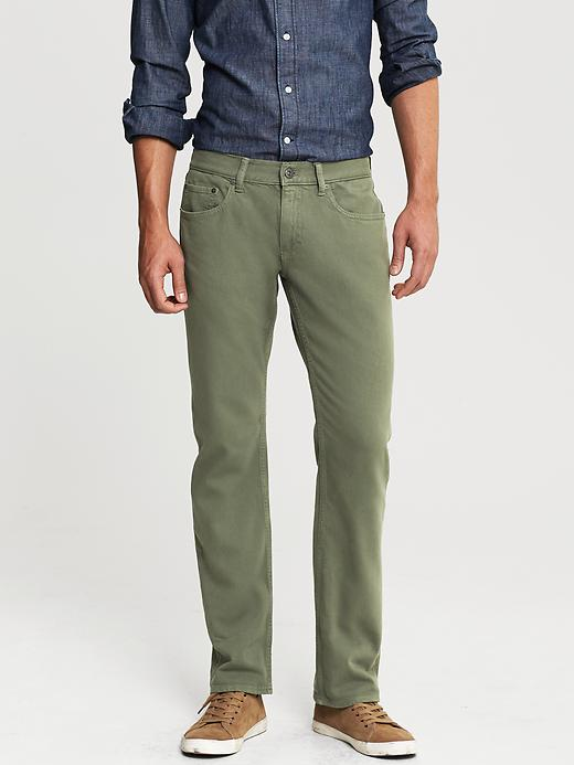 Banana Republic Vintage Straight Fit Five Pocket Pant - Olive - Banana Republic Canada