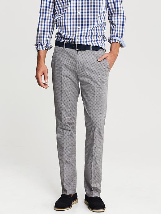 Banana Republic Kentfield Vintage Straight Fit Grey Print Cotton Pant - Grey print - Banana Republic Canada