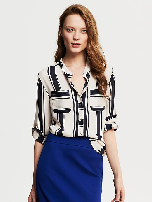 Banana Republic Bold Stripe Blouse - Classic navy - Banana Republic Canada