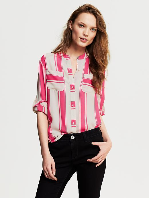 Banana Republic Bold Stripe Blouse - Pink lipstick - Banana Republic Canada