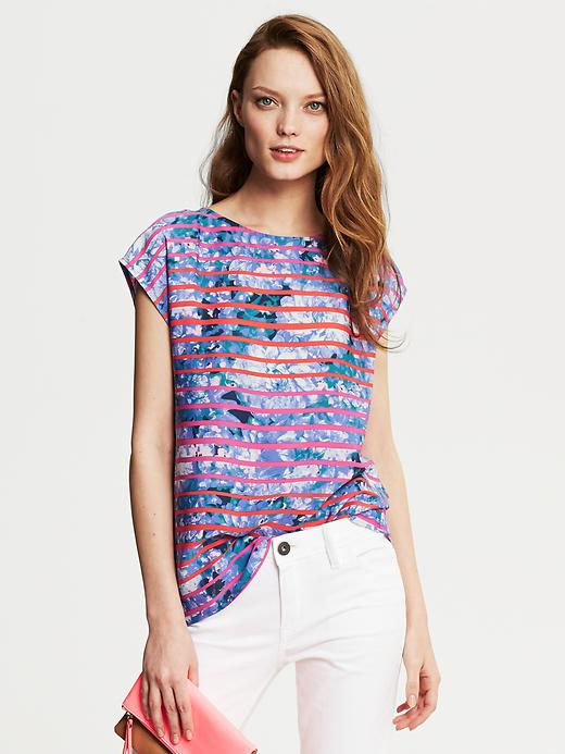 Banana Republic Blue Floral Striped Top - Riviera blue - Banana Republic Canada