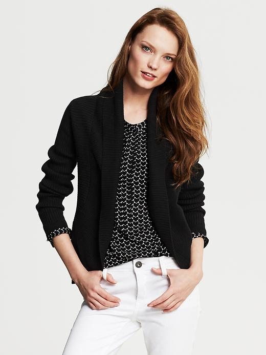 Banana Republic Black Ribbed Open Cardigan - Black - Banana Republic Canada
