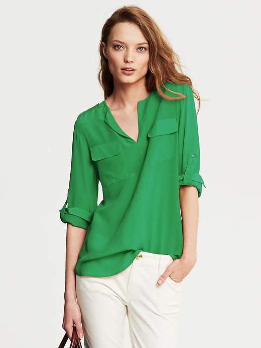 Banana Republic Heritage Silk Utility Blouse - Brilliant jade - Banana Republic Canada