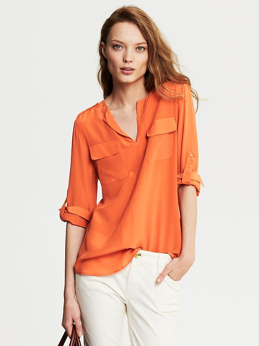 Banana Republic Heritage Silk Utility Blouse - Autumn sun - Banana Republic Canada