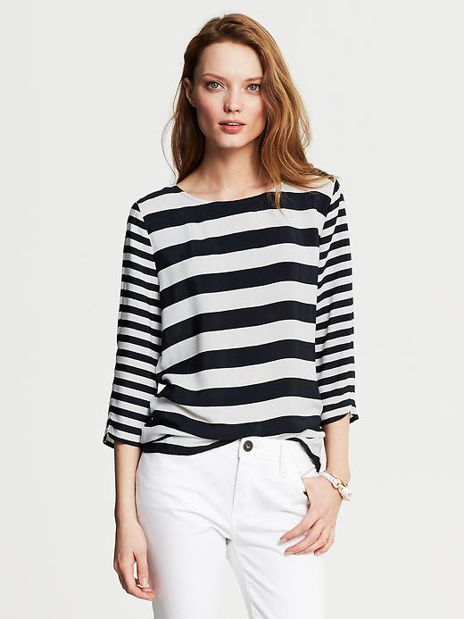 Banana Republic Button Back Mixed Stripe Top - True navy - Banana Republic Canada
