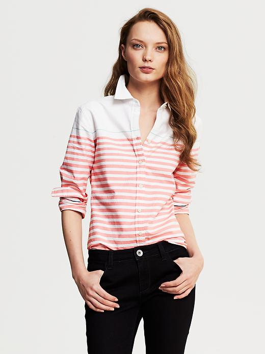 Banana Republic Horizontal Stripe Oxford Shirt - Coral capri - Banana Republic Canada