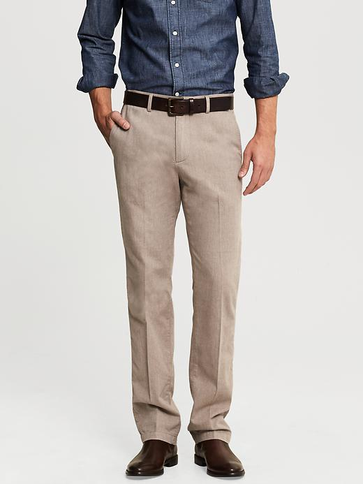 Banana Republic Kentfield Vintage Straight Fit Heathered Tan Cotton Pant - Tan heather - Banana Republic Canada