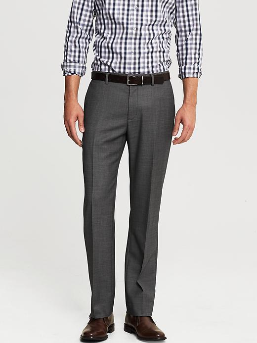 Banana Republic Tailored Slim Fit Black Nailhead Wool Dress Pant - Black - Banana Republic Canada