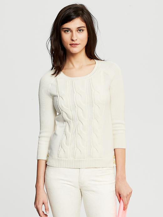 Banana Republic Cable Knit Three Quarter Sleeve Pullover - Cocoon - Banana Republic Canada