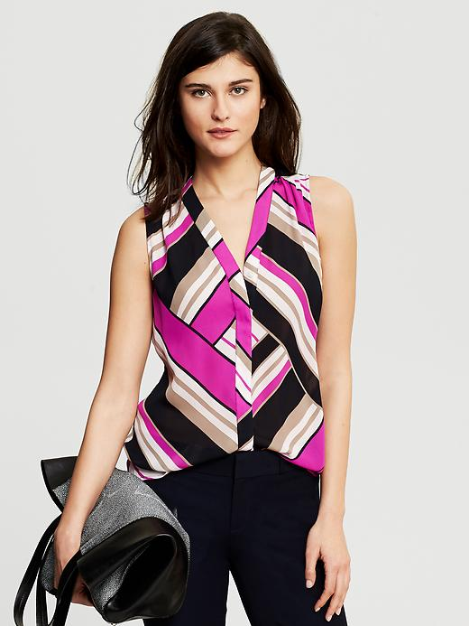 Banana Republic Bold Stripe Sleeveless Blouse - Wild orchid - Banana Republic Canada