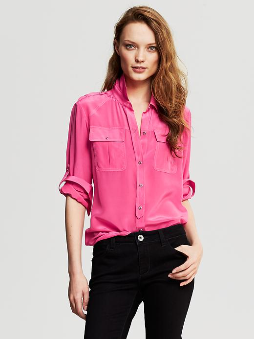 Banana Republic Silk Utility Blouse - Pink lipstick - Banana Republic Canada
