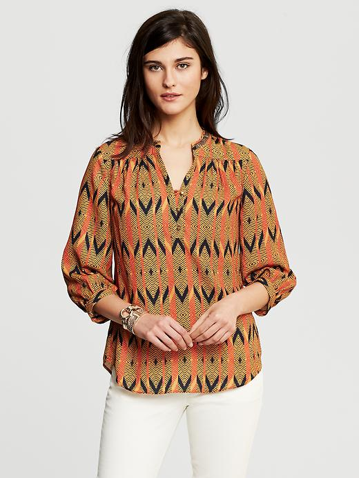 Banana Republic Heritage Printed Bead Trim Blouse - Deep saffron - Banana Republic Canada