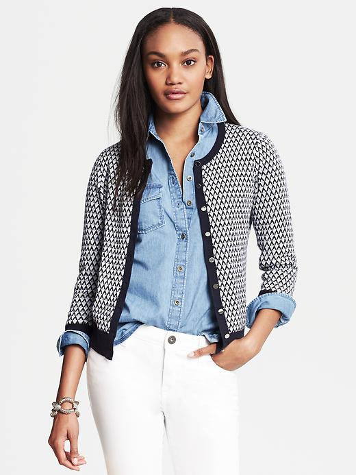 Banana Republic Anna Diamond Jacquard Cardigan - Classic navy - Banana Republic Canada