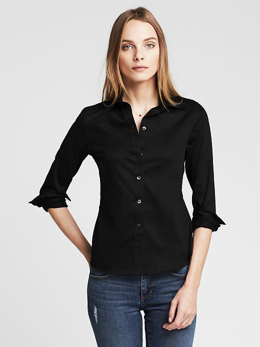Banana Republic Non Iron Fitted Sateen Shirt - Black - Banana Republic Canada