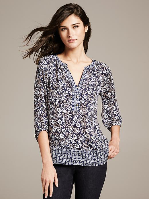 Banana Republic Mixed Print Blouse - New riverbed - Banana Republic Canada