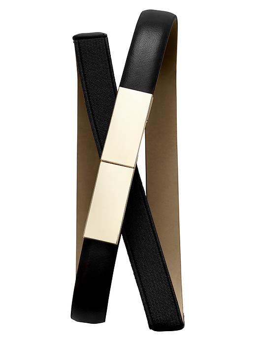 Banana Republic Plaque Stretch Skinny Belt - Black - Banana Republic Canada