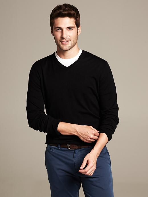 Banana Republic Silk/Cotton/Cashmere V-Neck Sweater - Black - Banana Republic Canada