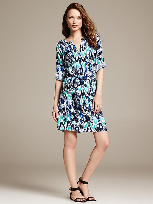 Blue Ikat Shirtdress