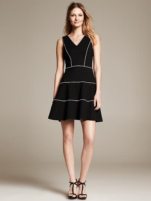 Tiered Black Ponte Fit-and-Flare Dress