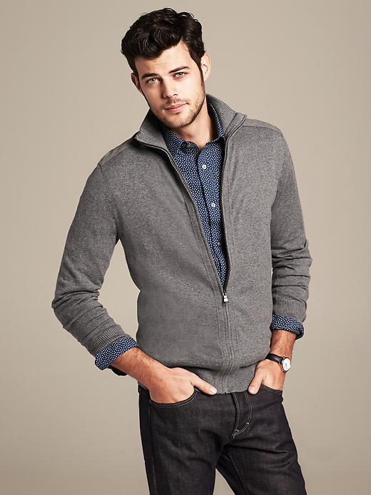 Heritage Textured Grey Shawl-Collar Cardigan