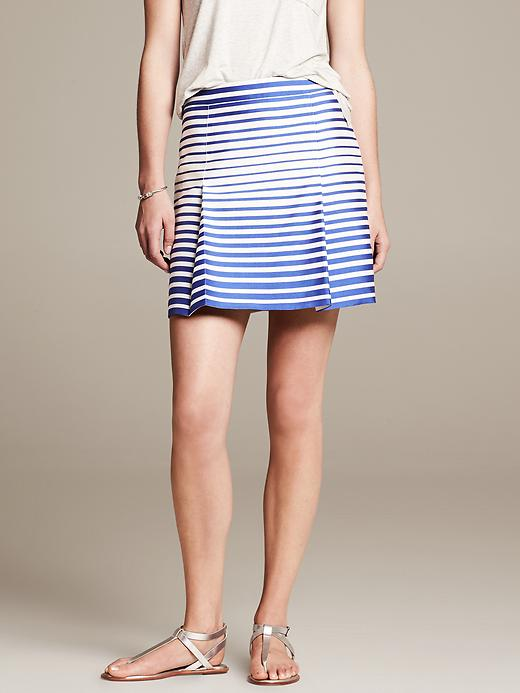 Blue Striped Open Pleat Skirt