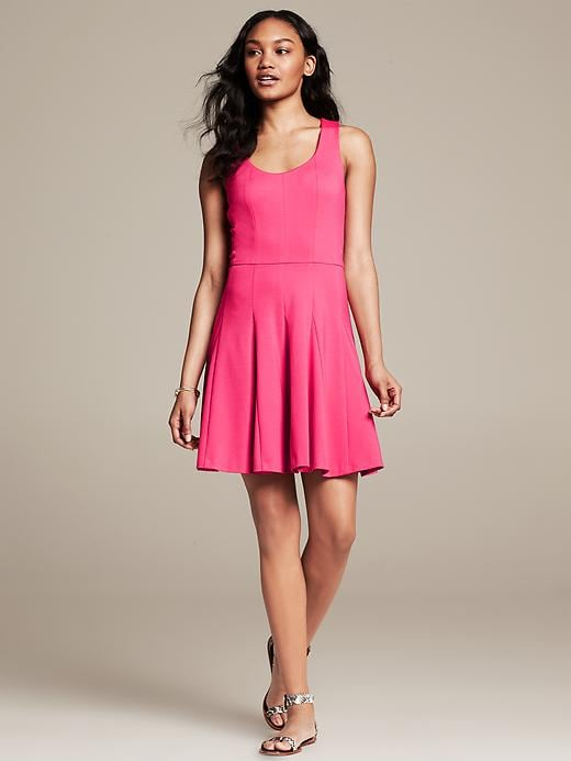 Cross-Back Ponte Fit-and-Flare Dress