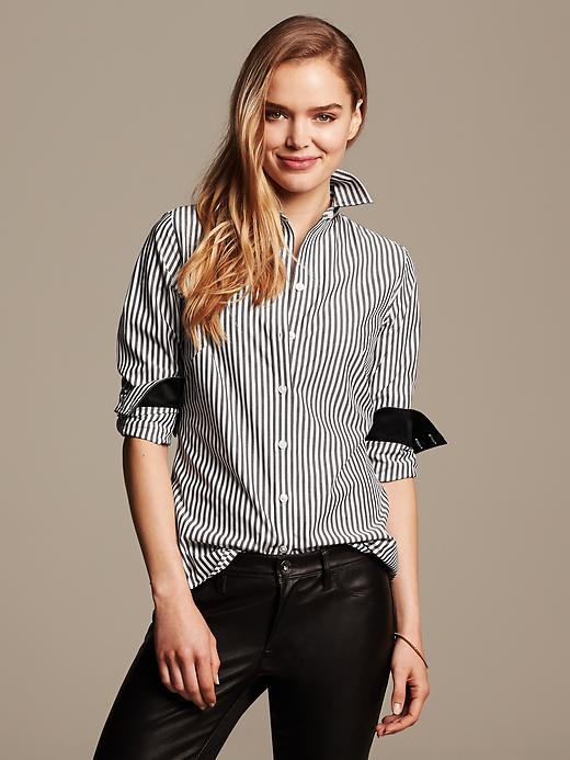 Fitted Non-iron Striped Shirt