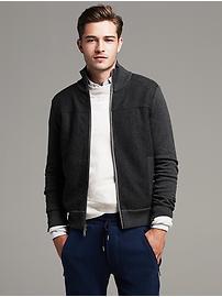 Charcoal Mixed-Media Sweater Jacket