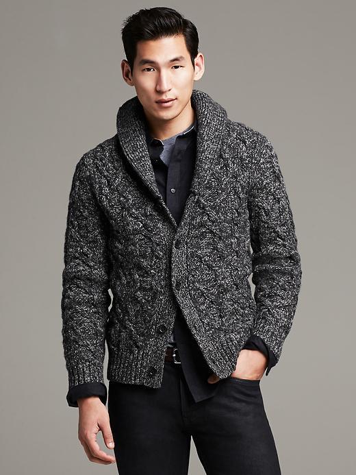 Cable-Knit Italian Wool Cardigan