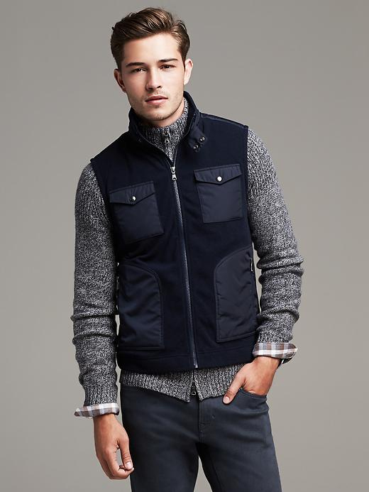 Mixed-media Four-pocket Vest