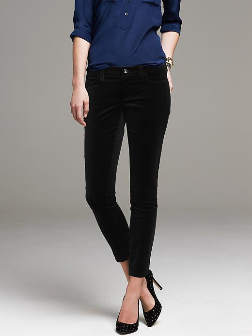Black Velvet Skinny Ankle Pants