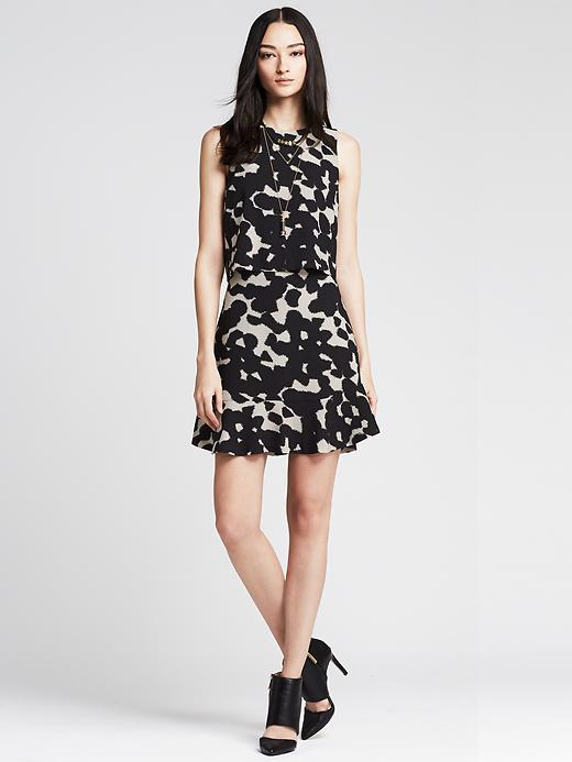 Printed Crepe Cutout Dress