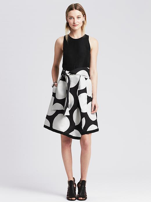 Dot-Print Belted Fit-and-Flare Dress