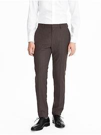 Pantalon rayé en laine Nanotex moderne, coupe standard