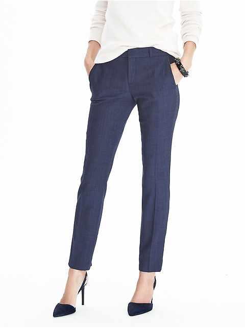 Petite Ryan Slim Straight-Fit Lightweight Wool Solid Pant