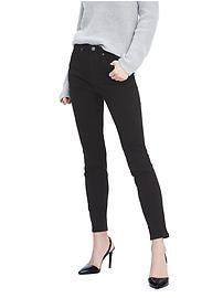 Jeans à taille haute, coupe étroite