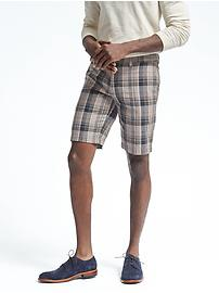 Aiden Slim Linen-Blend Khaki Madras Short