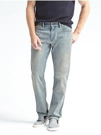 Straight Rapid Movement Denim Light Wash Jean