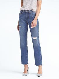 Vintage Straight Fray-Hem Jean