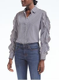 Dillon-Fit Stripe Cascade Ruffle-Sleeve Shirt