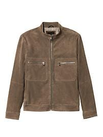 Suede Zip-Front Jacket