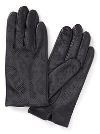 Leopard Perforated Leather Gloves