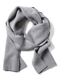 Écharpe rectangulaire en tricot gaufré de laine mérinos extra-mince