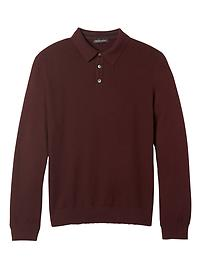 Pima Cotton Cashmere Texture Long-Sleeve Polo