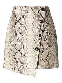 Jupe portefeuille boutonnée en cuir italien effet peau de serpent Banana Republic x Olivia Palermo